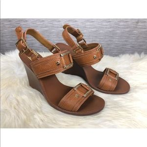 Tory Burch Leather Wedge Sandals